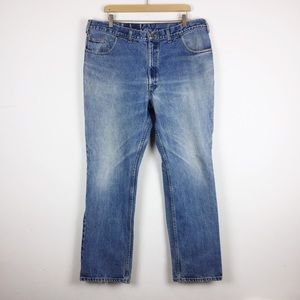 Vintage high waisted straight leg jeans faded blue